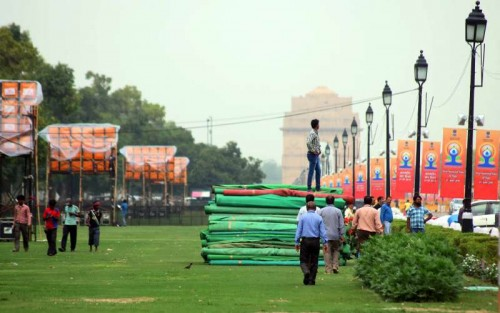 Preparation going on for the International Yoga Day at Rajpath in New Delhi on June 18, 2015.