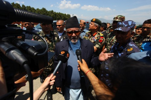 Nepali Prime Minister Sushil Koirala speaks to media