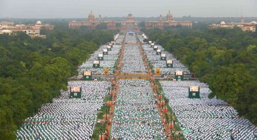 A bird's eye view of Rajpath on the occasion of International Yoga Day, in New Delhi 2.