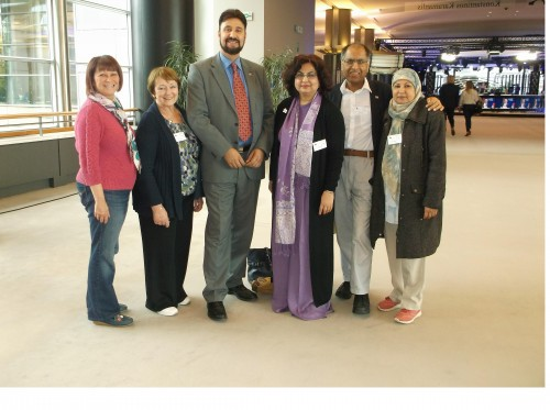 Heather Fletcher, June Rosen, Afzal Khan CBE MEP, Qaisra Shahraz, Mohammed Amin and Tahara Amin.