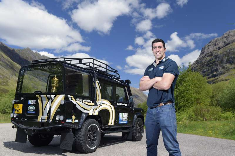 Land Rover ambassador Kelly Brown with the Rugby World Cup 2015 Defender
