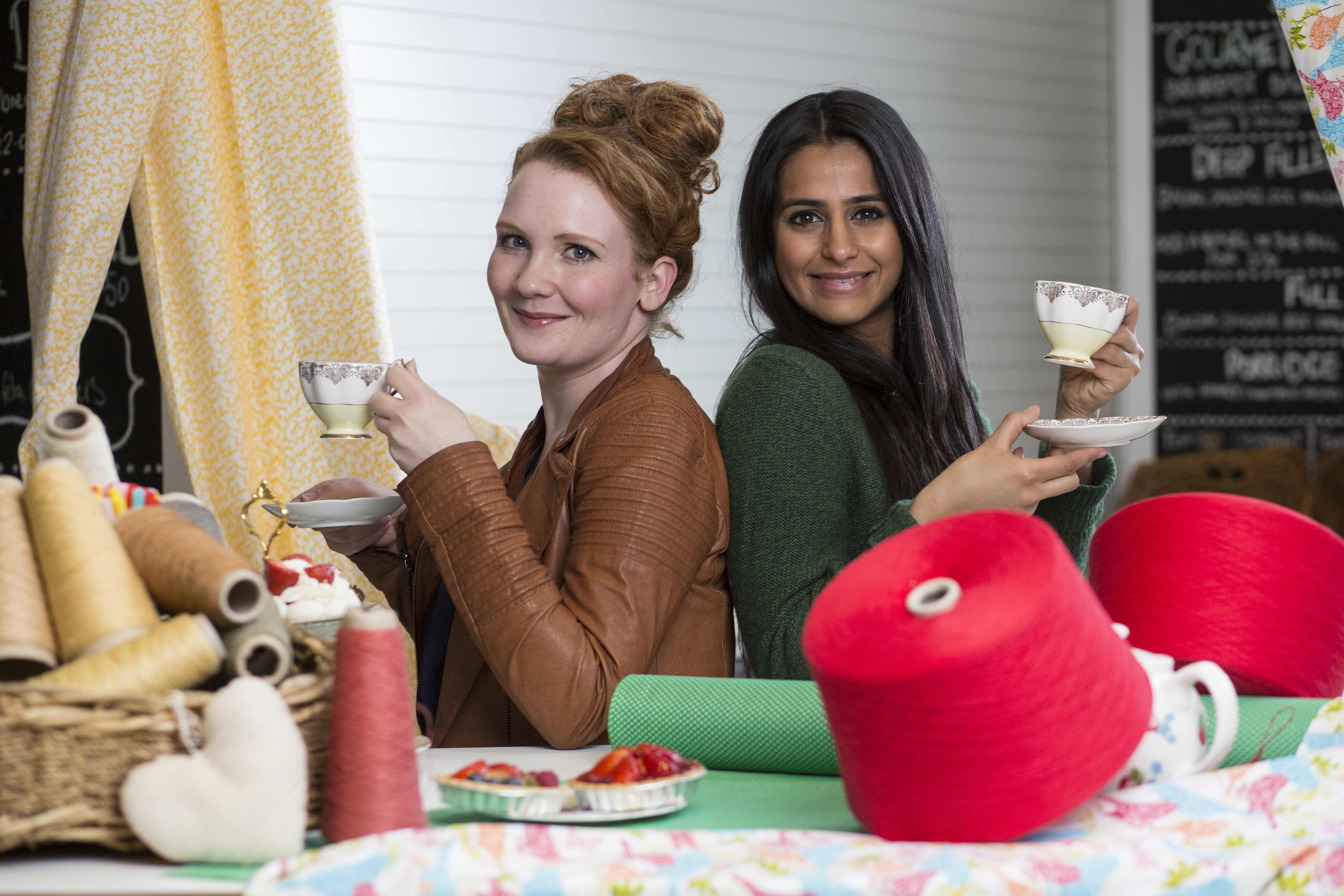 Coronation Street stars Jennie McAlpine and Sair Khan who will be making a special appearance at a pop-up Textiles Teashop on Saturday 20 June from 12pm – 1pm at Manchester Arndale Market