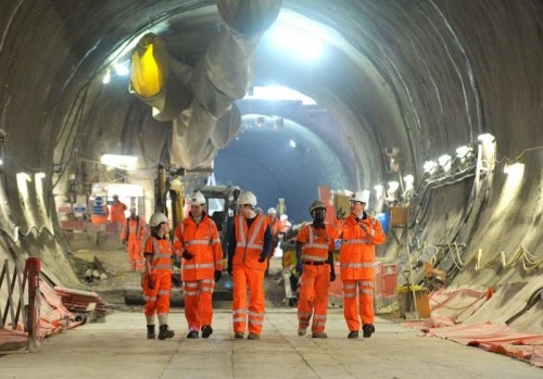 Prime Minister David Cameron visiting the Crossrail site