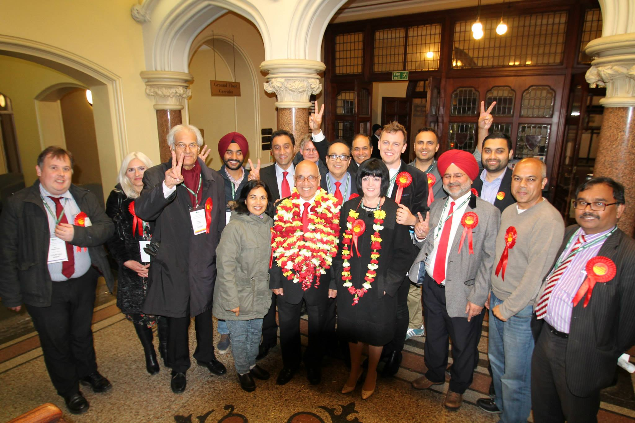 Mr Virendra Sharma MP and his supporters celebrating the re-election victory