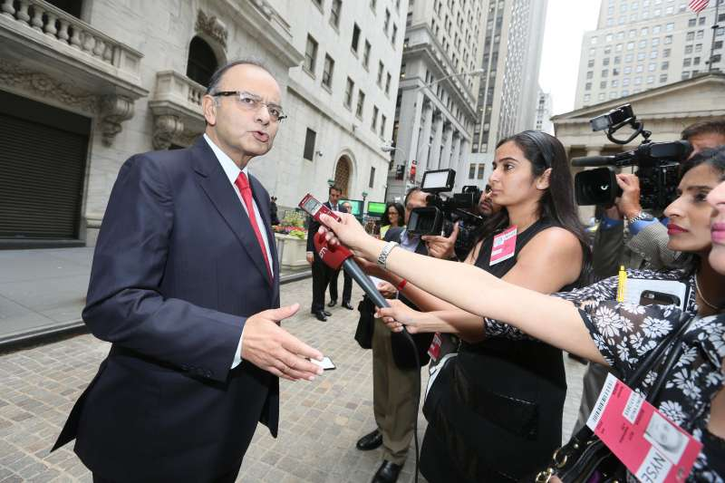Union Minister for Finance, Corporate Affairs Arun Jaitley arrives at the New York Stock Exchange in New York (File)