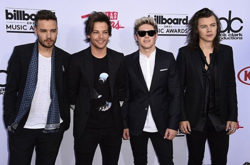 Liam Payne, Louis Tomlinson, Niall Horan and Harry Styles members of boy band One Direction at the Billboard Music Awards 2015 in the MGM Grand Garden Arena, Las Vegas on May 17, 2015.