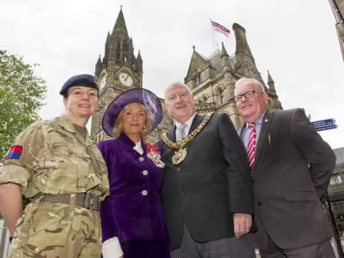 L-R: Lieutenant Colonel Lindsey Forbes, Vice Lord-Lieutenant of Greater Manchester Edith Conn OBE, Lord Mayor of Manchester Paul Murphy OBE and Councillor Tomas Judge Councillor Tommy Judge, Manchester City Council's lead member for armed forces.