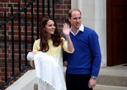 The newborn baby girl makes her first appearance to the public with the Duke of Cambridge and the Duchess outside St. Mary's Hospital in London, on May 2, 2015.