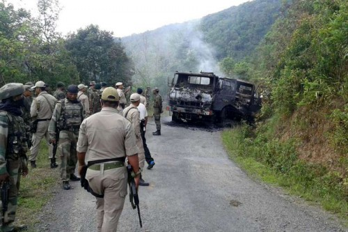 Security personnel at the site where at least 18 soldiers were killed on 4th June 2015, when NSCN-K militants ambushed their convoy in Manipur's Chandel district on June 5, 2015.
