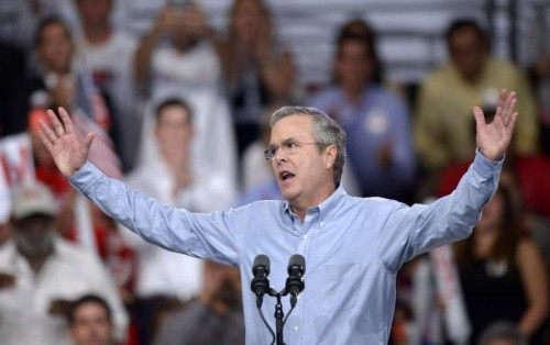 "Former Florida Governor Jeb Bush speaks at Kendall campus of Miami Dade College in Miami, Florida, the United States, June 15, 2015. Jeb Bush on Monday joined an already crowded Republican presidential field and vowed to fix a ""dysfunctional Washington."""