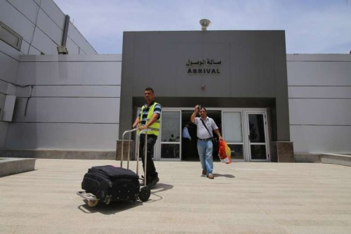 A Palestinian man returns to Gaza through Rafah crossing point between Egypt and the southern Gaza Strip,
