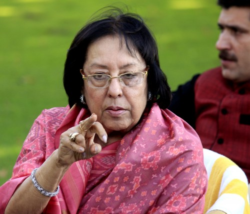 Union Minister for Minority Affairs, Najma Heptulla addresses a press conference in Srinagar on May 26, 2015. (Photo: IANS)