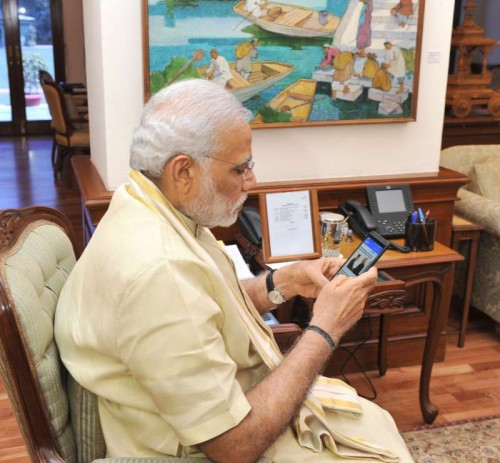 Prime Minister Narendra Modi launch the `Narendra Modi Mobile App`, in New Delhi on June 17, 2015