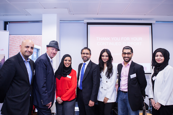 L to R:  Aaqil Ahmed (Head of Commissioning - Religion TV and Head of Religion and Ethics at the BBC); Tom Bloxham MBE (urban Splash); Nafisa Hakim(Mosaic NW Regional Manager); Wakkas Khan (Mosaic NW Regional Chairman); Afshan Azad; Zeb Farooq (Highly Commended mentor); Amsha Aslam (Mosaic NW Mentor of the Year)