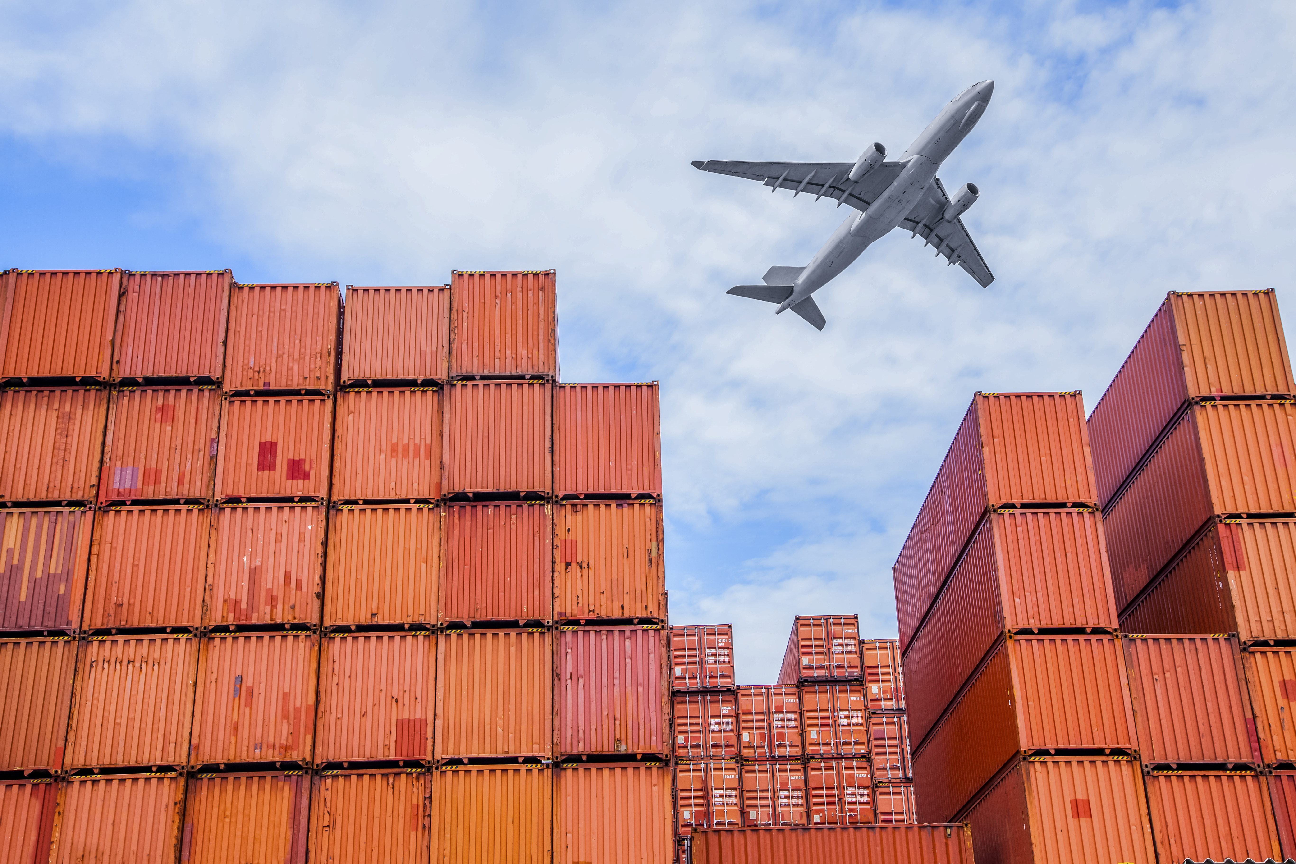 Container and a plane - business - ship - shipping