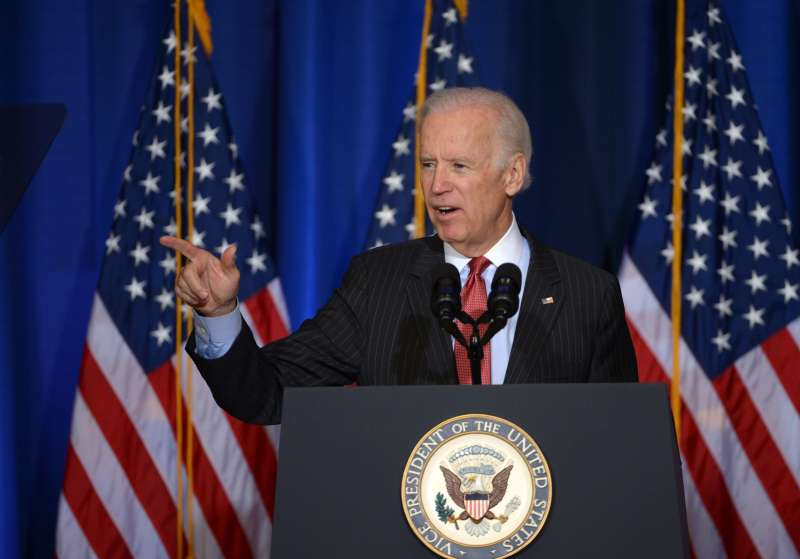"U.S. Vice President Joe Biden delivers an address on U.S. policy in Iraq in advance of Iraqi Prime Minister Haider al-Abadi's visit, at the National Defense University, Washington D.C., April 9, 2015. Biden said on Thursday that U.S.-led airstrikes have helped Iraqi forces halt the offensive by the extremist Islamic State (IS) group in the Arab country, with its ""aura of invincibility"" pierced."