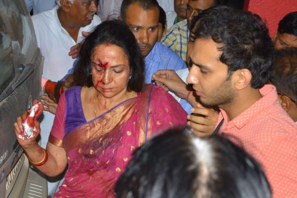Actress and BJP MP Hema Malini being taken to hospital in a in Jaipur on July 2, 2015 after being injured in an car accident near Dausa