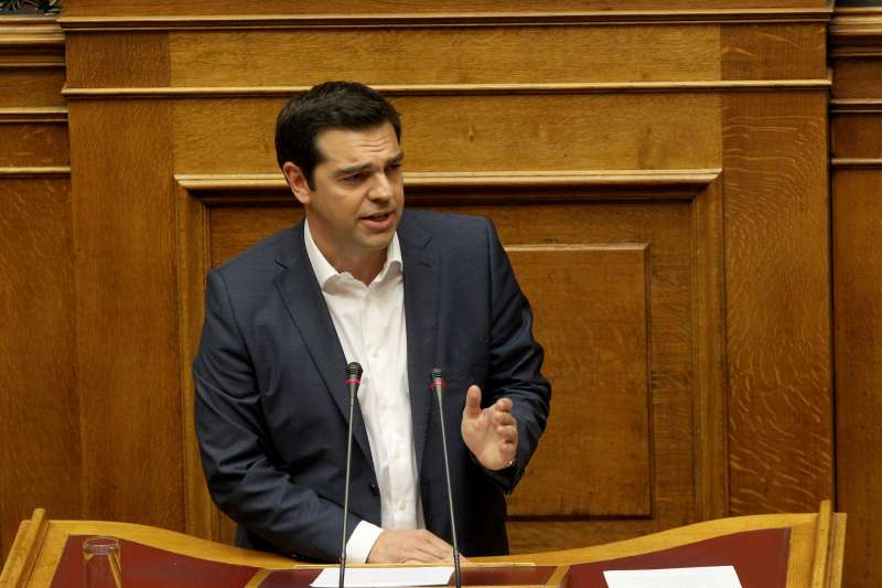 Prime Minister Alexis Tsipras addressing the parliament