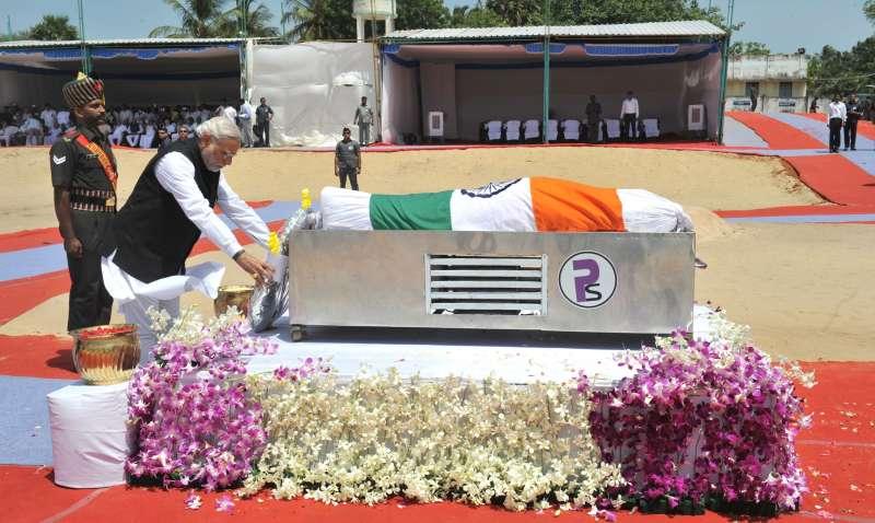 Indian Prime Minister Moi paying tributes to Dr APJ Abdul Kalam