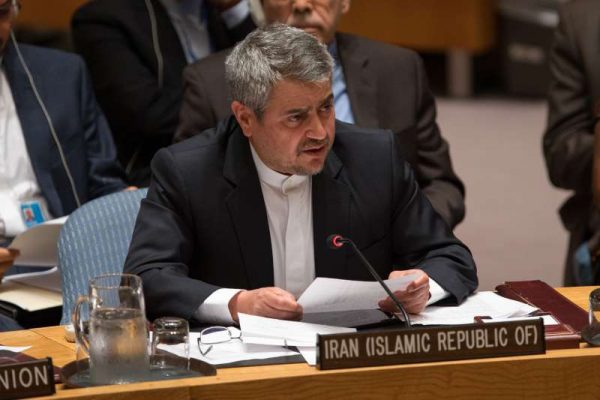 Iranian Ambassador to the United Nations Gholam Ali Khoshrou speaks after the UN Security Council endorsed Iran nuclear deal at the UN headquarters in New York, the United States, on July 20, 2015. The UN Security Council on Monday endorsed the newly-reached agreement between Iran and major world powers on Iranian nuclear issues, kicking off a process to lift UN sanctions on Iran.