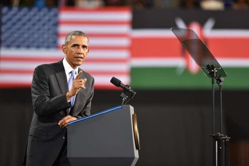 U.S. President Barack Obama delivers a speech during his visit in Nairobi, Kenya