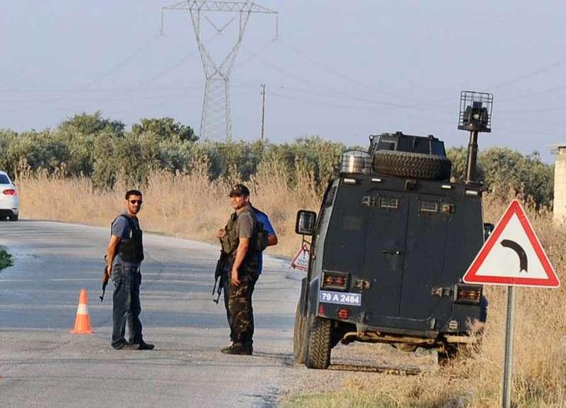 Turkey's military vehicles are seen near Kilis, the Turkey and Syria border area