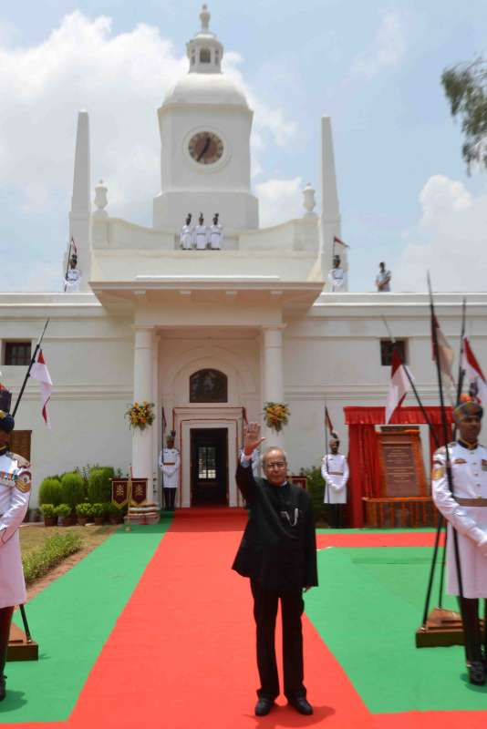 President Pranab Mukherjee during inauguration of restored Schedule `A` Clock Tower in the President's estate, New Delhi