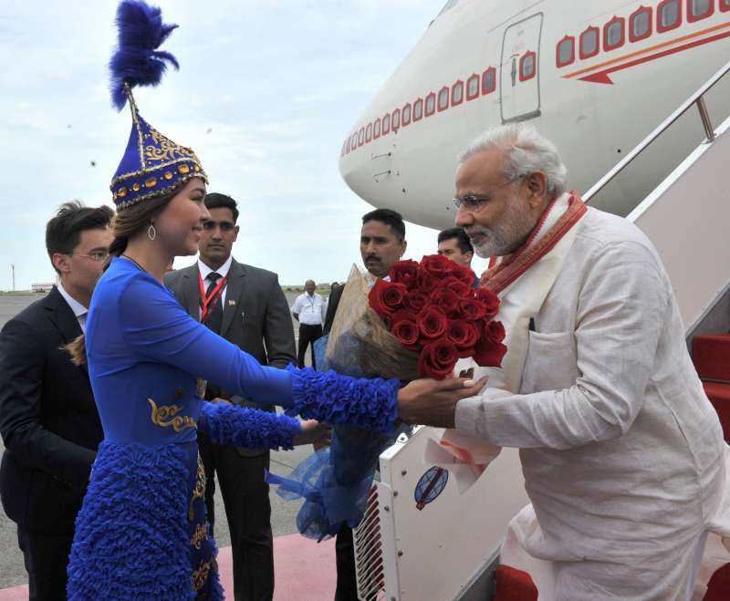 Modi being welcomed on his arrival at Astana International Airport, Kazakhstan