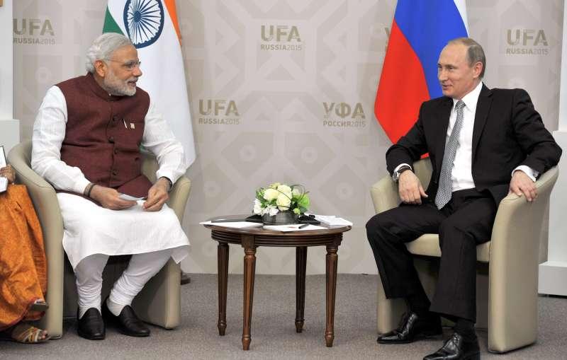 Prime Minister Narendra Modi with President of Russian Federation Mr. Vladimir Putin at Congress Hall, in Ufa, Russia