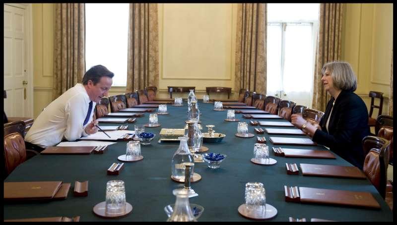 British Home Secretary Theresa May with Prime Minister David Cameron (File)