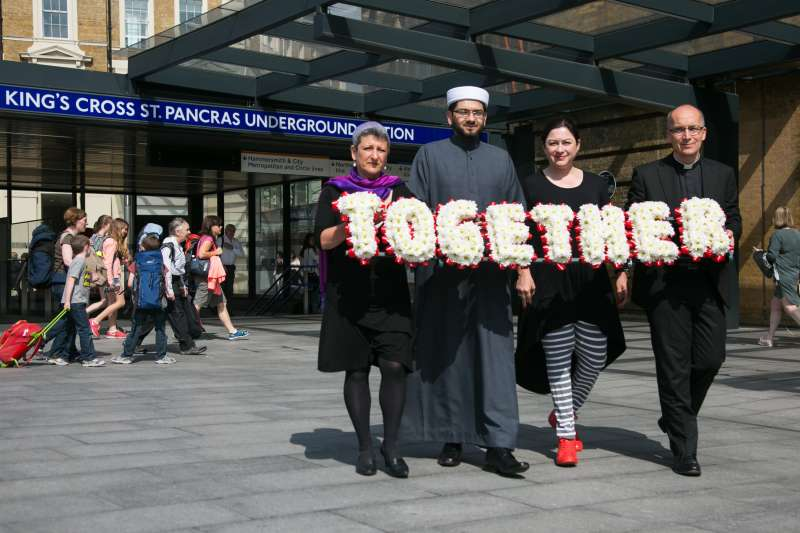Walk Together For Peace in commemoration of the 77 bombings in London 2010. From left to right Revd Bertrand Olivier, Rabbi Laura Janner-Klausner, Imam Qari Asim. Photo Kristian BuusBritish Future