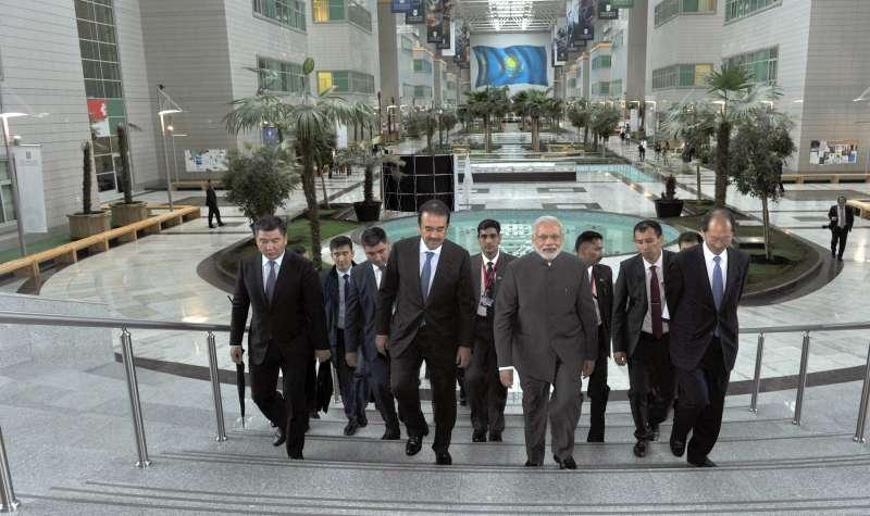 Prime Minister Narendra Modi visits the Nazarbayev University, in Astana, Kazakhstan on July 07, 2015. Also seen the Kazakhstan Prime Minister Karim Massimov