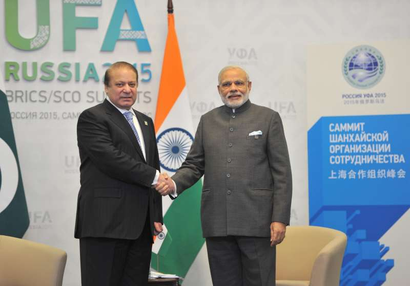 Prime Minister Narendra Modi meets the Prime Minister of Pakistan Nawaz Sharif, in Ufa, Russia on July 10, 2015