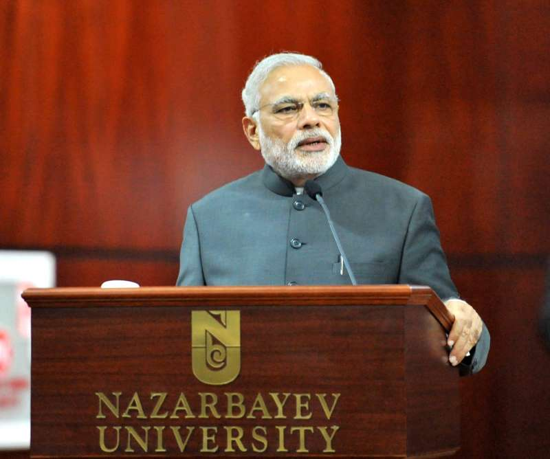Prime Minister Narendra Modi visits the Nazarbayev University, in Astana, Kazakhstan