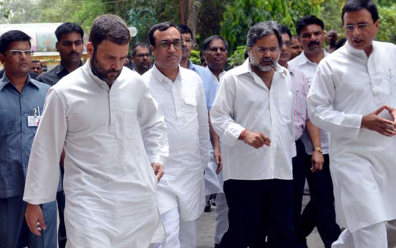 Congress Vice-President Rahul Gandhi with party workers in New Delhi