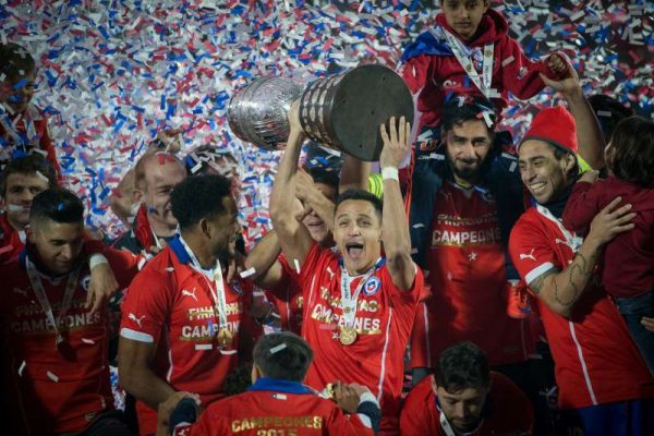 Players of Chile celebrate after the final match of the Copa America Chile 2015 against Argentina, at the National Stadium, in Santiago, capital of Chile, on July 4, 2015. Chile won the final match of the Copa America 2015 against Argentina after the penalty kick 4-1