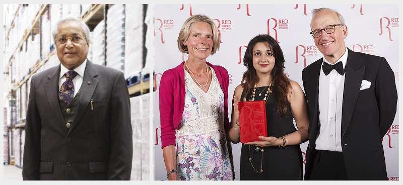 (L)Dr Rami Ranger MBE, FRSA Chairman of Sun Mark Ltd. (R) Reena Ahuja, daughter of Dr Rami , collected the Lifetime Achievement Award on his behalf