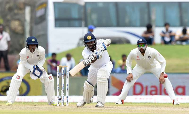 Players of Sri Lanka compete in the first day of the opening test match between Sri Lanka and India at the Galle International Cricket Stadium in Galle, Sri Lanka,