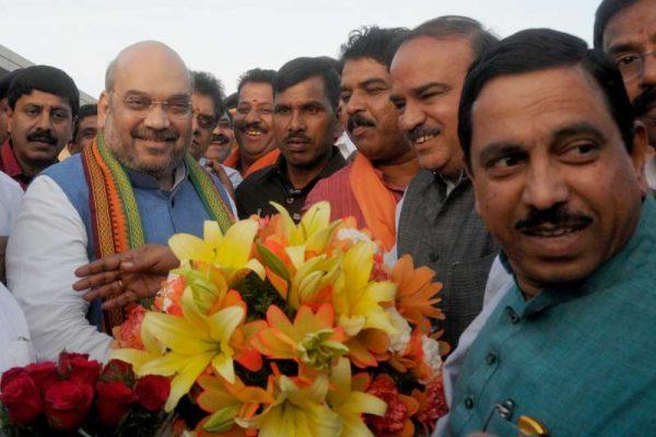 BJP president Amit Shah arrives in Bengaluru