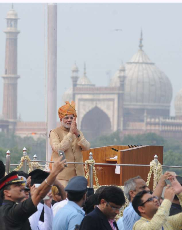 Prime Minister Narendra Modi addresses the nation on the occasion of 69th Independence Day from the ramparts of Red Fort, in Delhi