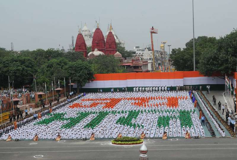 Children participating the 69th Independence Day celebrations in Delhi