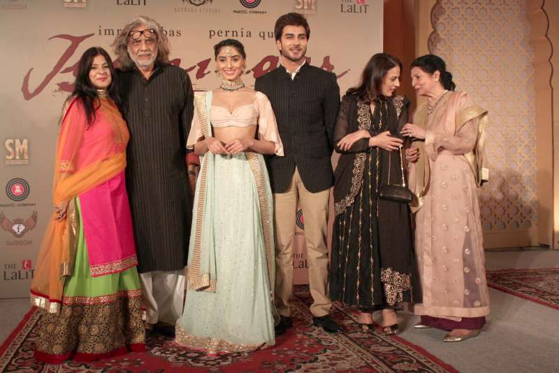 Filmmaker Muzaffar Ali with producer Meera Ali and actors Imran Abbas and Pernia Qureshi during the music launch of upcoming film `Jaanisaar` in New Delhi