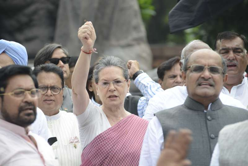 Congress President Sonia Gandhi leads a protest at Parliament compound in New Delhi