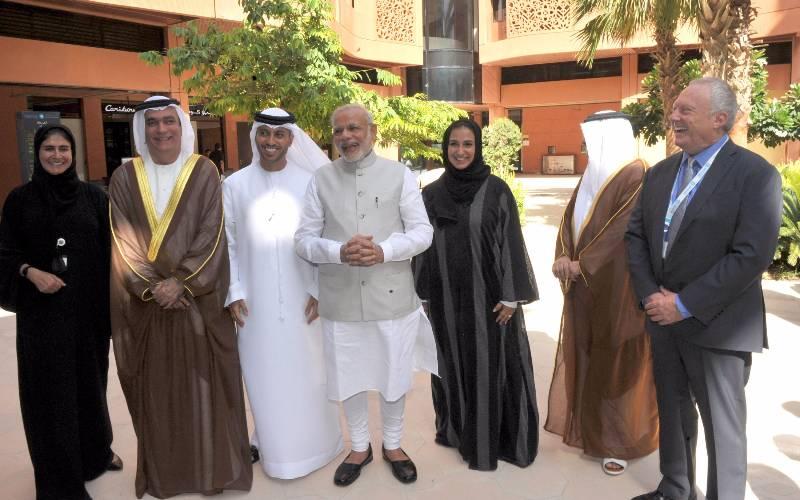 Prime Minister Narendra Modi takes a tour of Masdar City, a hub of clean technology, in Abu Dhabi, UAE