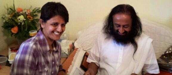 Farnaaz with Sri Sri Ravi Shankar