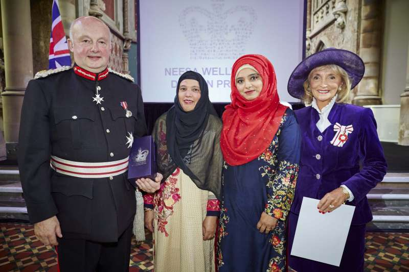 Lord-Lieutenant of Greater Manchester Warren Smith with Ghazala Hussain and Rozina Akhtar from Neesa  and the Vice Lord-Lieutenant Mrs Edith Conn