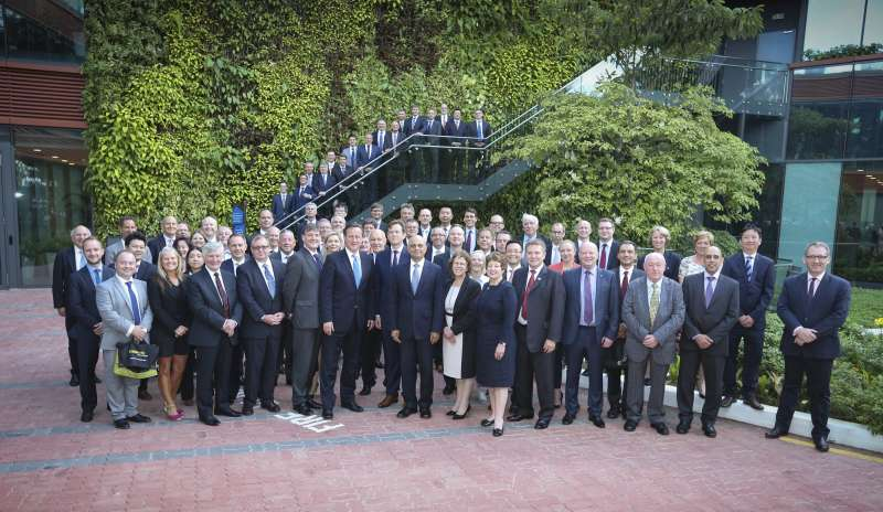 Prime Minister David Cameron and Business Secretary Sajid Javid with the  memebers of the trade mission from the North