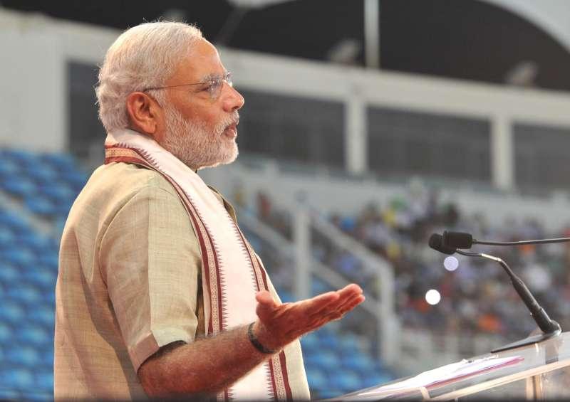 Prime Minister, Modi addressing the gathering at the Indian Community Reception, in Dubai Cricket Stadium