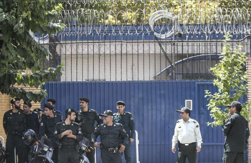 Iranian soldiers are seen in front of the British embassy in Tehran, Iran, on Aug. 23, 2015. The British embassy in Iran has reopened on Sunday after four years of closure as Iranian protesters stormed the embassy during a demonstration over Britain's nuclear-related sanctions against the country in 2011.