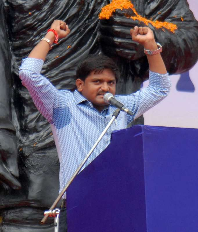 Hardik Patel, the convener of Patidar Anamat Andolan Samiti (PAAS) addresses during a demonstration to press for reservation in job and education in Ahmedabad